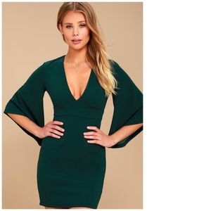 LULU'S Glimpse of Glamour Bell Sleeve Dress Green